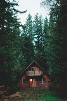 A cozy cabin in the woods.