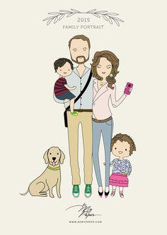 Family Portrait Illustration Ördög Nóri, Nánási családi portré by Be My Paper