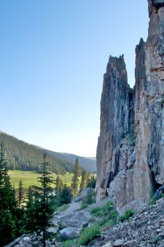 Three limestone giants overlooking Poudre Lake in Rocky Mountain National Park