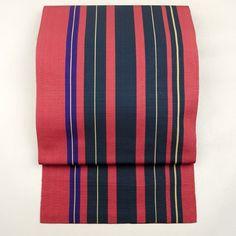 Red and purple stripe, silk fukuro obi / 紫色の縞が粋なレトロ感を添えている薄手の袋帯 http://www.rakuten.co.jp/aiyama #Kimono #Japan #aiyamamotoya