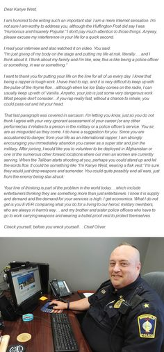 Police Chief David Oliver's letter to Kanye West - Love this!