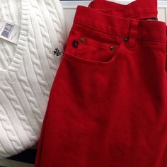 Ralph Lauren Red Jeans Gorgeous red jeans. Washed a couple times. Sits higher on waist. very good condition Ralph Lauren Jeans
