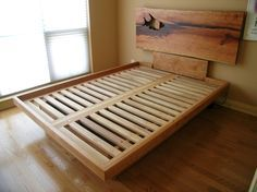 Queen Platform Bed with Drawers | PLATFORM BED with LIVE-EDGE HEADBOARD + SUB-DRAWERS