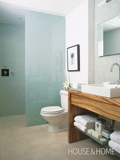 Vanity, frosted glass wall, shower taps, floor transition: House & Home Makeovers 2008 SIP (Sarah Richardson) Sarah Richardson, Shower Taps, Shower Enclosure, Bath Shower, Bad Inspiration, Bathroom Inspiration, Shower Remodel, Bath Remodel, Contemporary Bathrooms