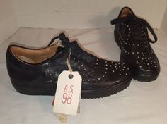 NEW FREE PEOPLE AS 98 LONG DRIVE BLACK STUDDED LEATHER SNEAKERS SIZE US 8 EUR 38 #AS98 #FASHION
