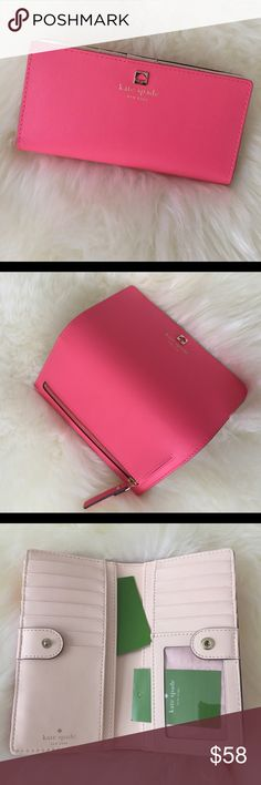 Brand new Kate spade Stacy wallet Brand new. Never Used. Never worn. In a perfect condition. 100% Genuine leather. Size is 7x3.5 x1. The color is coral and pink . Tag price is$118. The price is firm. Please don't waste your time bargaining. kate spade Bags Wallets