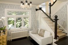 """""""Runner - What brand carpet is the stair runner?""""  1 · 3 months ago  """"Hand rail and steps - What is the color and finish of the paint/stain used on the stairs?""""  1 · 3 months ago  """"Is the radiator new or an old refurbished one? If new, what is the brand?""""  1 · 8 months ago  """"Where can I get a lead glass transom like that?""""  2 · 9 months ago  """"Do you know the name/brand of the wallpaper?""""  3 · 12 months ago"""