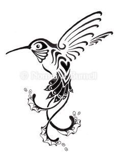 black and white hummingbird tattoo - Google Search