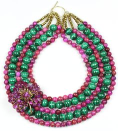 Statement Kette, Statement Necklace, Handmade, Malachite and Pink Agate, Vintage Brooch - When Skies Are Grey - Bertha Louise