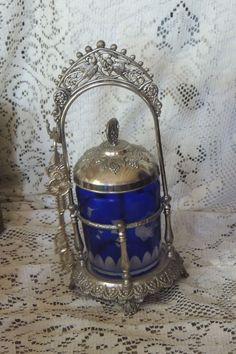 SILVER PLATED DECO STYLE PICKLE CASTOR W/ BLUE BOHEMIAN CUT GLASS JAR #Unknown