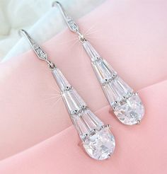 Art Deco Wedding Earrings, Bridal earrings, Bride earrings, Wedding Jewelry, CZ Crystal Dangle Earrings. $52.00, via Etsy.