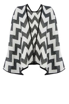 The Aztec zig-zag print and wear with anything monochrome makes this the perfect Spring cover up. Throw it on and say adios to chilly days.