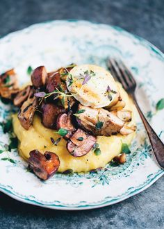 Creamy polenta with mushrooms and artichoke recipe from Green Kitchen Travels by David Frenkiel | Cooked