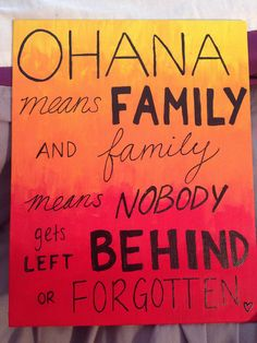 The OHANA canvas I painted for my little