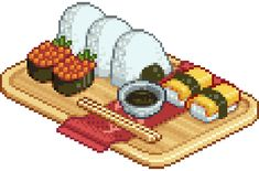 Find images and videos about food, kawaii and japan on We Heart It - the app to get lost in what you love. Pixel Art Food, Anime Pixel Art, Food Art, Faire Du Pixel Art, Pixel Characters, 8 Bit Art, Pix Art, Isometric Art, Tumblr Art