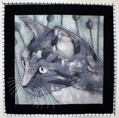 """Corduroy Cat"", 16""x16"", art quilt by Sandra Poteet.  The inspiration was a scrap of gray corduroy.  Also used were wool felt, inks, thread, and upholstery scraps.   Mountain Art Quilters 2013 challenge."