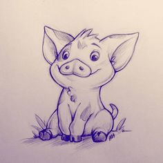 Pua by Paa-H on DeviantArt - Vorlagen - Disney Pencil Drawings, Disney Drawings Sketches, Easy Disney Drawings, Disney Character Drawings, Cartoon Drawings Of Animals, Cool Art Drawings, Cute Animal Drawings, Drawing Sketches, Drawing Animals