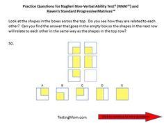 Practice questions for the Naglieri Nonverbal Ability Test (NNAT) PreK through Kindergarten