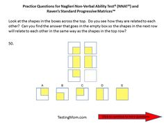 Practice questions for the Naglieri Nonverbal Ability Test (NNAT) PreK through Kindergarten