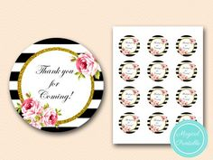 BS10 circle-2 inches-thanks-black-stripes-bridal-shower-favor-tags-baby-shower