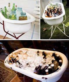 Bathtub Beverage Cooler - perfect for Southern Wedding . paint peacock flowers on them.