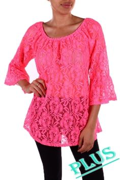 95%POLYESTER 5%SPANDEX SOLID LACE TOP MADE IN USA.