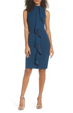 MAdrianna Papell Ruffle Sheath Dress in evening sky blue (petite, regular) | A pretty ruffle cascades down the front of this office-ready sheath that flatters your figure from the mock neck to the knee-length hem. Nordstrom.