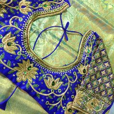 Alwarpet Best Bridal designer works , new Latest Blouse Designs drop in to Balibridalblousedesigner .book appointment a day before, spent time with the in house Fashion Designer &  we educate you in all New trends in Blouse, finalise , we will bring a life to your Dream Blouse .ping me 9176817735.Alwarpet client Blouse Back Neck Design With Stone Work n Lotus based theme  -  See more at Best Blouse Designs, Blouse Back Neck Designs, Bridal Blouse Designs, Saree Blouse Designs, Blouse Styles, Aari Embroidery, Embroidery Designs, Bridal Silk Saree, Stone Work