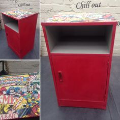 Cupboard/Bedside painted in Annie Sloan Emperors Silk. Gorgeous vivid colour and looks super cool with the Marvel Theme!