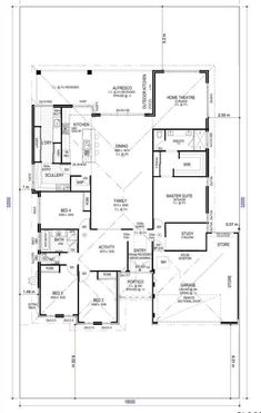 Today I have this large family home with scullery, activity, study and home theatre… It's a pretty standard layout and would fit a regular residential house block. The kids' bedrooms are clustered together on one side away from. Dream House Plans, House Floor Plans, Wooden Greenhouses, Outdoor Kitchen Design, House Layouts, Kitchen Layout, Autocad, Home Theater, Future House