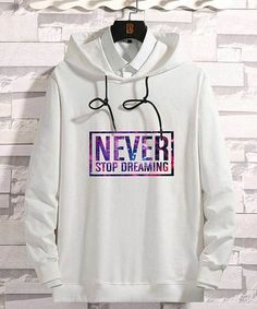 Men's white never stop dreaming pattern print hoodies 01 Black Zip Hoodie, Trendy Hoodies, Gray Label, Men Store, Fashion Hub, Mens Jumpers, Men Online, Black Pattern, Pattern Print