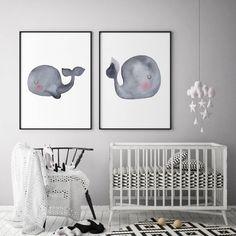 Ideas for baby nursery ocean whale art Whale Nursery, Ocean Nursery, Nursery Canvas, Baby Whale, Yellow Nursery, Nursery Wall Decor, Nursery Themes, Baby Decor, Nursery Art
