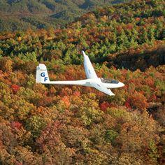 sailplane over the mountains