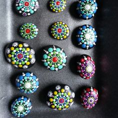More mini set of mandala painted stones 2016 collection