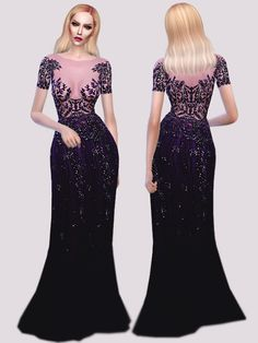 Z.M. Purple Gown at Fashion Royalty Sims via Sims 4 Updates