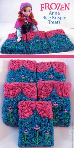 Our sweet and sassy Anna Rice Krispie Treats are adorable, delicious and just right for a Frozen Birthday Party.  Easy to make, these colorful Anna themed treats will definitely stand out on a Frozen Dessert Table.  For more fun Frozen Party Ideas follow us at https://www.pinterest.com/2SistersCraft/
