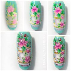 Repost @tanya_tsybulsk by @media.repos Acrylic Tutorials, Nail Manicure, Manicures, Cat Nails, Disney Posters, Nail Patterns, Flower Nails, Nail Art Designs, Pretty