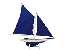 "Wooden America's Cup Contender Dark Blue Model Sailboat Decoration 18"" - Blue Sails from Handcrafted Model Ships - In stock and ready to ship"