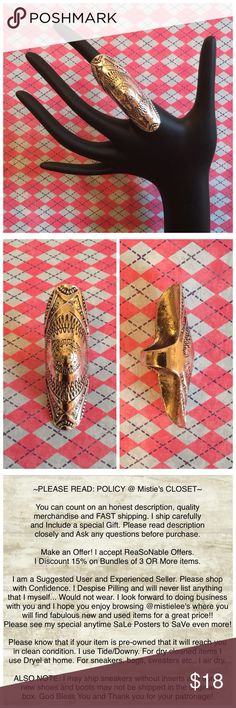 """Unique Antique Silver Bohemian Carved Full Finger Gorgeous Ring Tribal or Aztec Feel. Carved for the Knuckle -Sits comfortably on finger (will work for sizes 6-9) Measures approximately 2.5"""" Long. Fashion Jewelry that works well with any outfit. NEW. Thank you for browsing my closet. Jewelry Rings"""