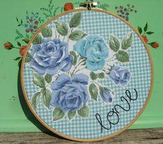 embroidery hoop art-love from vintage grey
