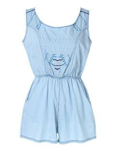 Blue Embroidery Elastic Waist Sleeveless Romper Playsuit
