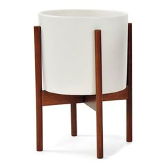 case study ceramic planter with wood stand white large