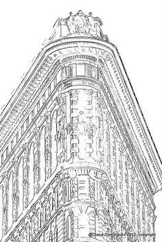 New York City Building Sketch 8x10 Abstract Drawing by ddfoto, $37.00
