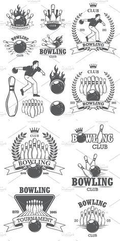 Set of vintage bowling logos templat. Sport Icons. $10.00