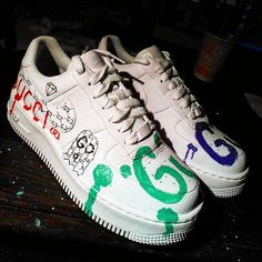 72bb36cf9d Custom Nike Air Force one,gucci ghost,gucci,custom sneakers , custom shoes
