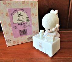 "1990 PRECIOUS MOMENTS Figurine Enesco Symbol of Membership ""My Happiness"" Charter Membership Porcelain Figurine Original Box Christian CO110"