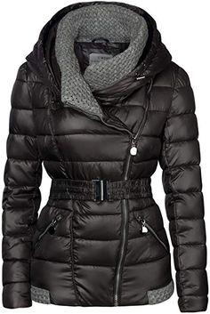 ad5d8bbf11a304 S'West Damen Winter Jacke Gestrickte Kragen GROßE Kapuze KURZ Mantel  Skijacke, Farbe:
