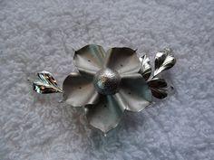 Sterling Dogwood brooch. silvertone by ElviesAdornments on Etsy