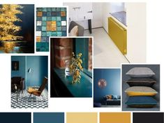 Color petrol and gold ocher understand each other well - Best Garden Decoration Trends Big Living Rooms, Living Room Decor, Interior Color Schemes, Interior Design, Small Lounge, Home Alone, Cool Walls, Home Bedroom, Wall Design