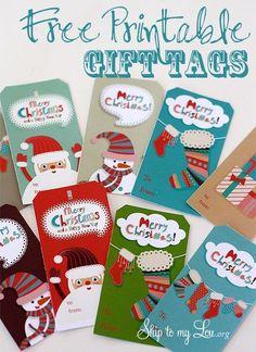 Free printable holiday gift tag for Christmas present wrapping